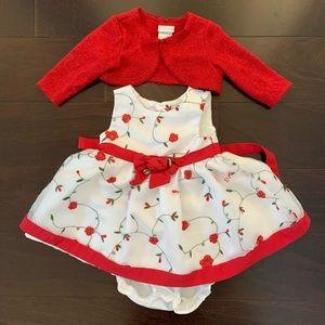 Sweet Heart Rose dress set, size 6-9mo